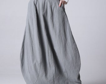 bubble skirt, gray linen skirt, long skirt, linen skirt, womens skirt, fashion clothing, skirt with pockets, fitted waisted skirt (1192)