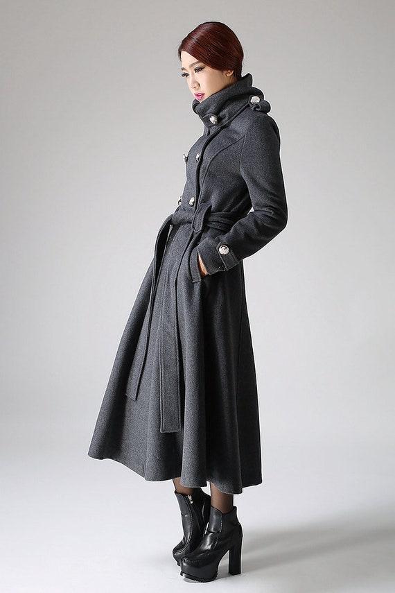 Militärmantel, Wollmantel, lange graue Wollmantel, Wintermantel, Frauen Mäntel, grau Doppel Brust Mantel, militärischen Stil Mäntel, 1072 #
