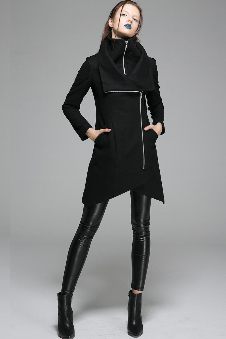 Moderne Winterjas.Asymmetrisch Jas Black Coat Wol Jas Moderne Jas Womens Etsy
