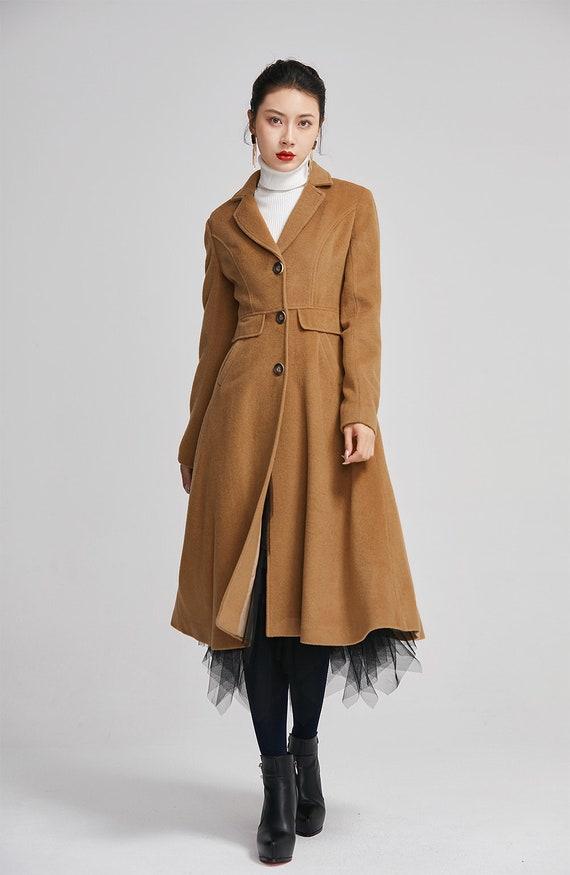 Winter Knopf Eleganten WintermodeHandgemachte Brauner Warmen Gefüttert Wolle MantelLange Damen WYIeE2bH9D