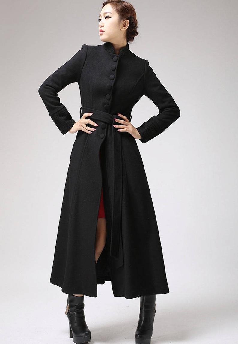 d2574af785e Black coat dress coat mandarin collar long coat womens