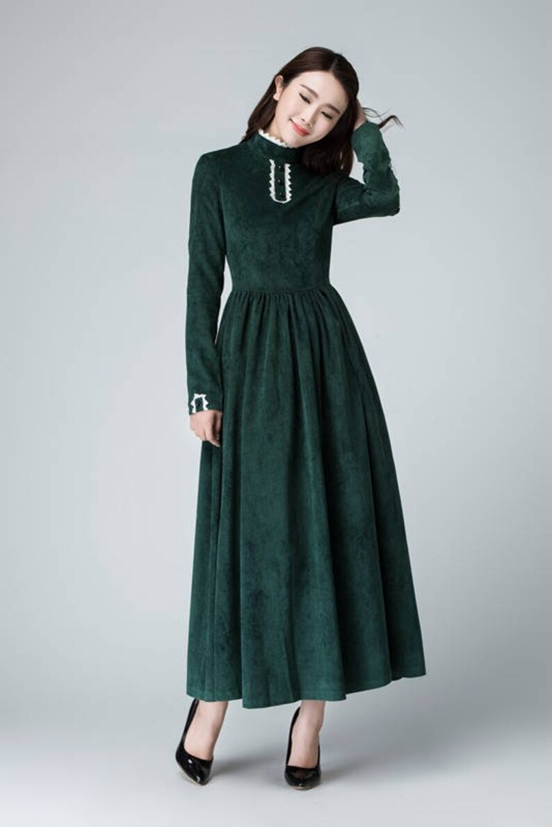 ee8bfb6508 Green dress corduroy dress maxi dress winter dress | Etsy
