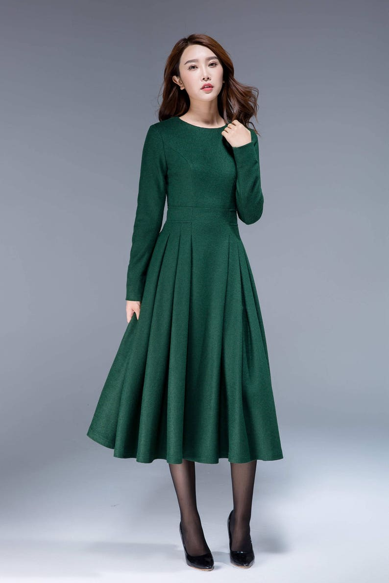 ff09d24efe4 Green dress wool dress midi dress pleated dress fit and