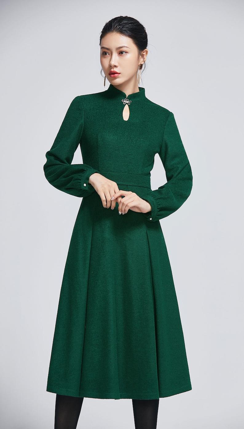 Vintage inspired wool dress green dress for women Midi dress green- 2266- 08#09