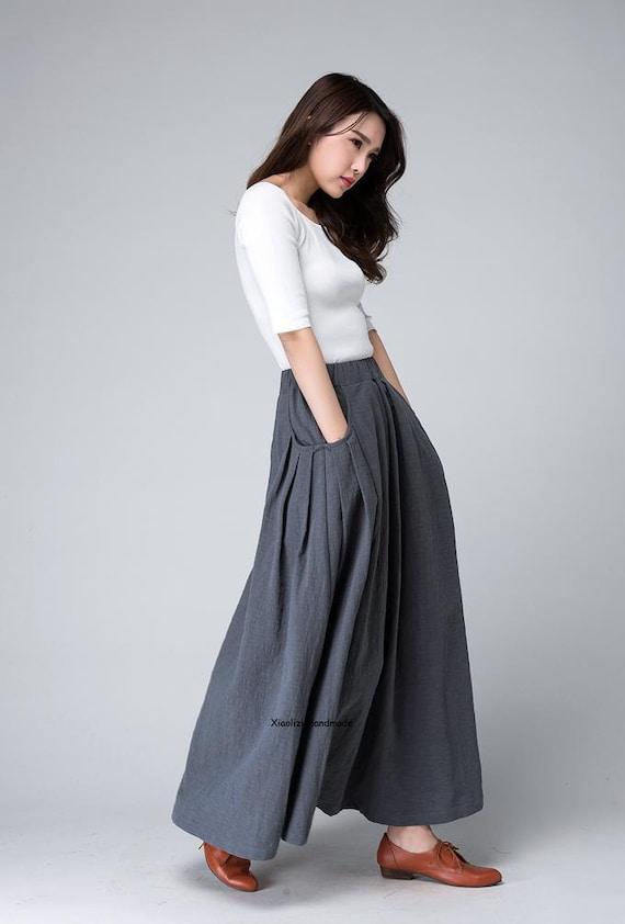 long linen skirt maxi skirt grey skirt ladies skirts  cce51cda5ab6