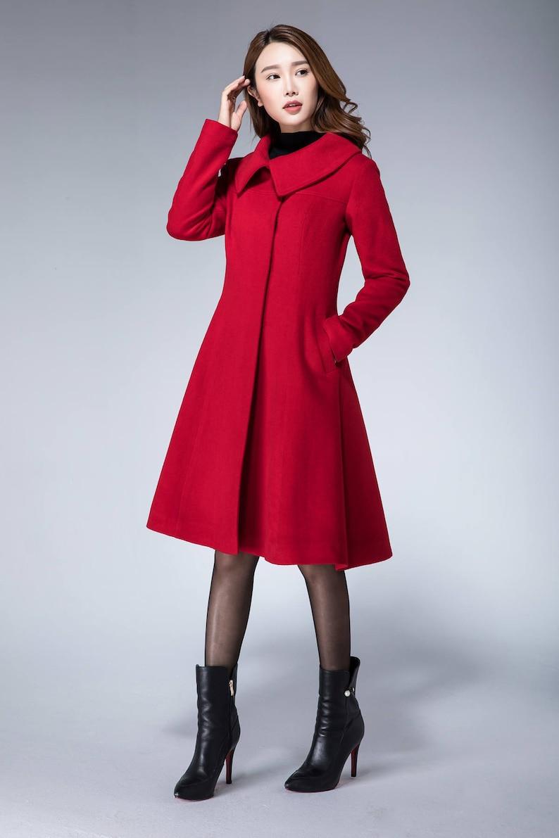ea2992fe9e9e4 Peacoat women coat jacket wool coat red coat winter
