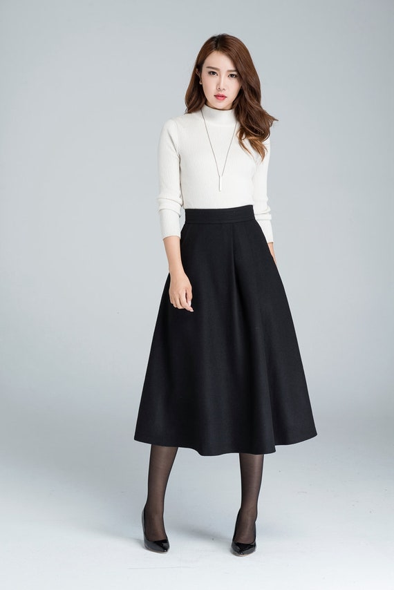 b418f329ac Midi wool skirt A line skirt wool skirt woman skirt black   Etsy