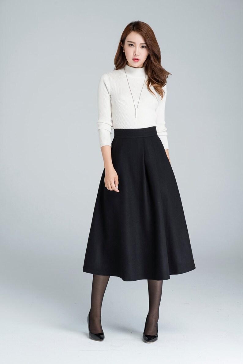 5735fbcc1 Midi wool skirt A line skirt wool skirt woman skirt black | Etsy