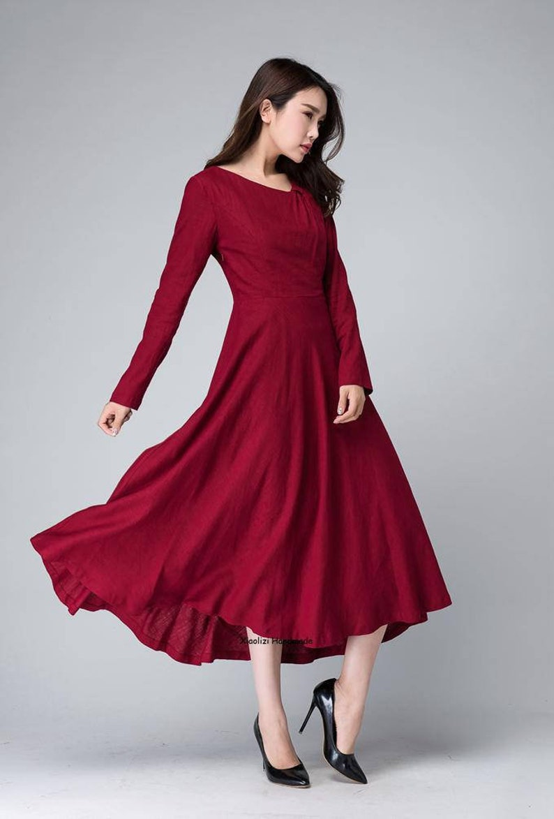 926924e23005 Burgundy dress linen dress midi dress womens dresses long