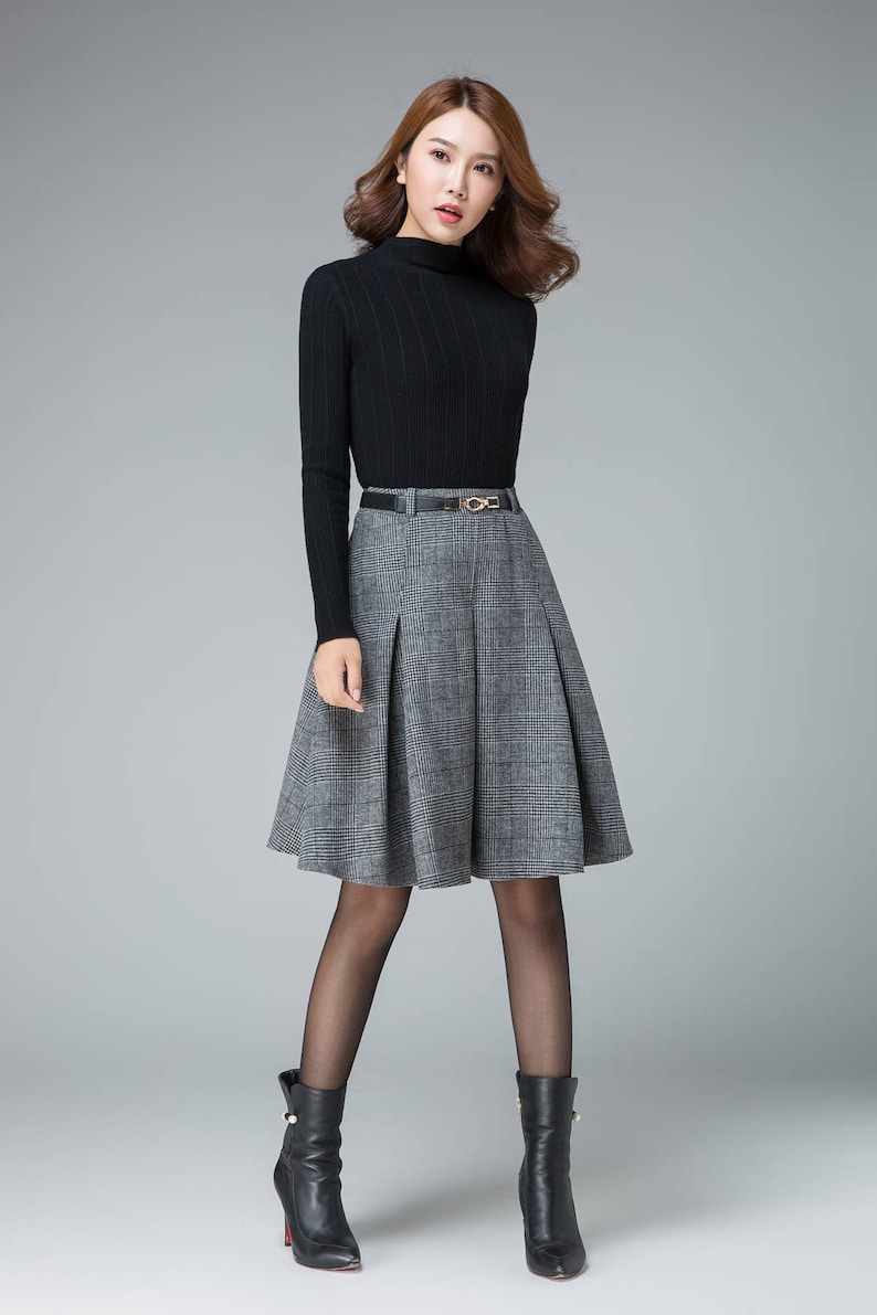 d3bc77803 Fashion skirt wool plaid skirt pleated skirt high waisted | Etsy