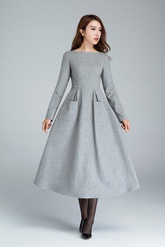31c247baa8 Wool dress dress with pockets light grey dress winter | Etsy