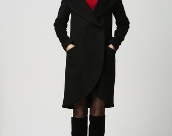 wrap coat, short coat, hooded jacket, black wool jacket, womens coats, winter coat, hooded jacket, plus size coat, ladies clothing 1124