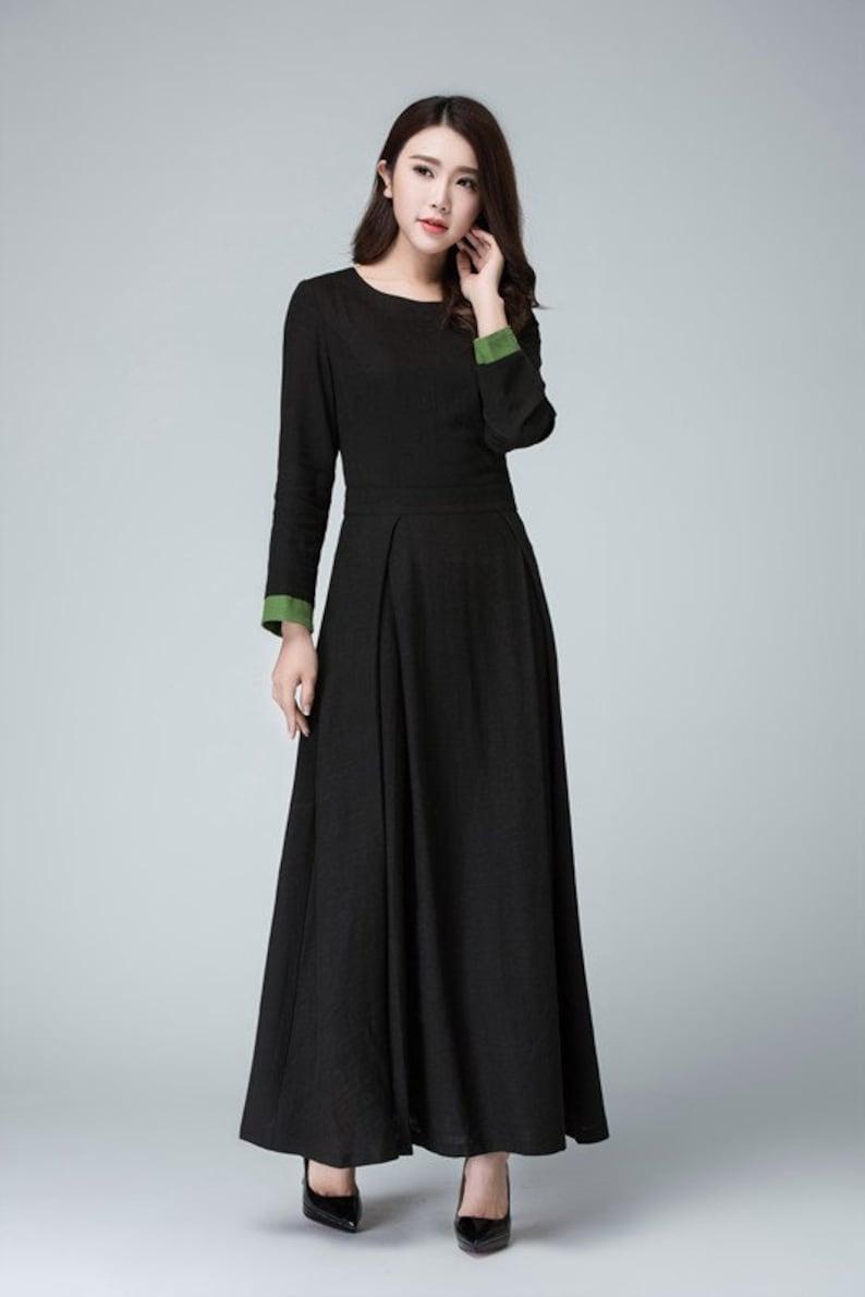 Ongekend Vrouwen Lange Mouw Maxi jurk in zwart linnen jurk Maxi prom   Etsy RL-92