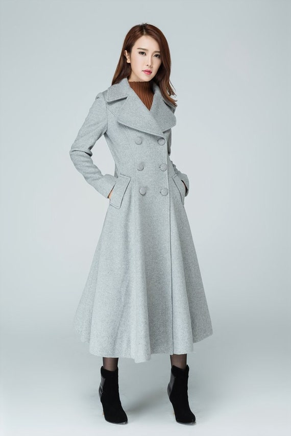 most desirable fashion promo codes clear and distinctive Maxi coat, wool outerwear, plus size coat, swing coat, trench coat, gray  coat, winter jacket, double breasted coat, pleated coat, gift 1606#