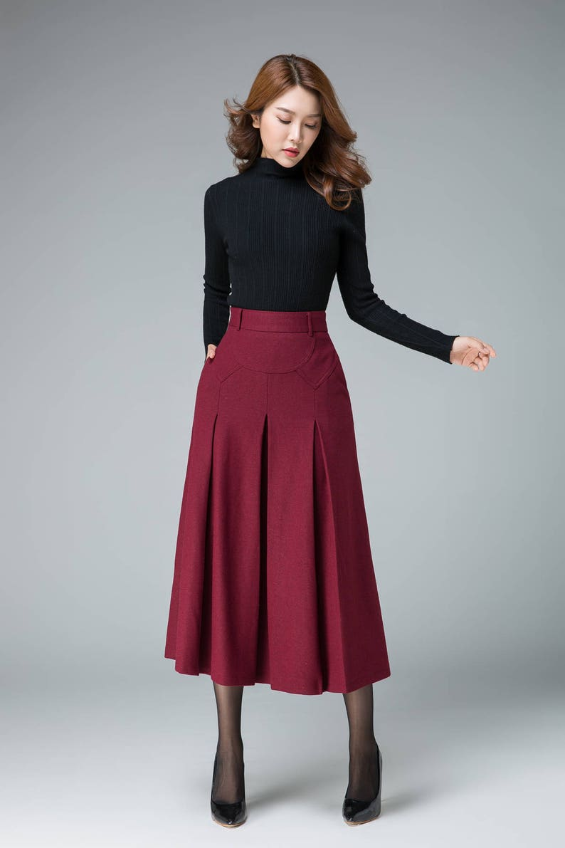 9291c9ffbf6 Romantic skirt wine red skirt evening skirt wool skirt | Etsy