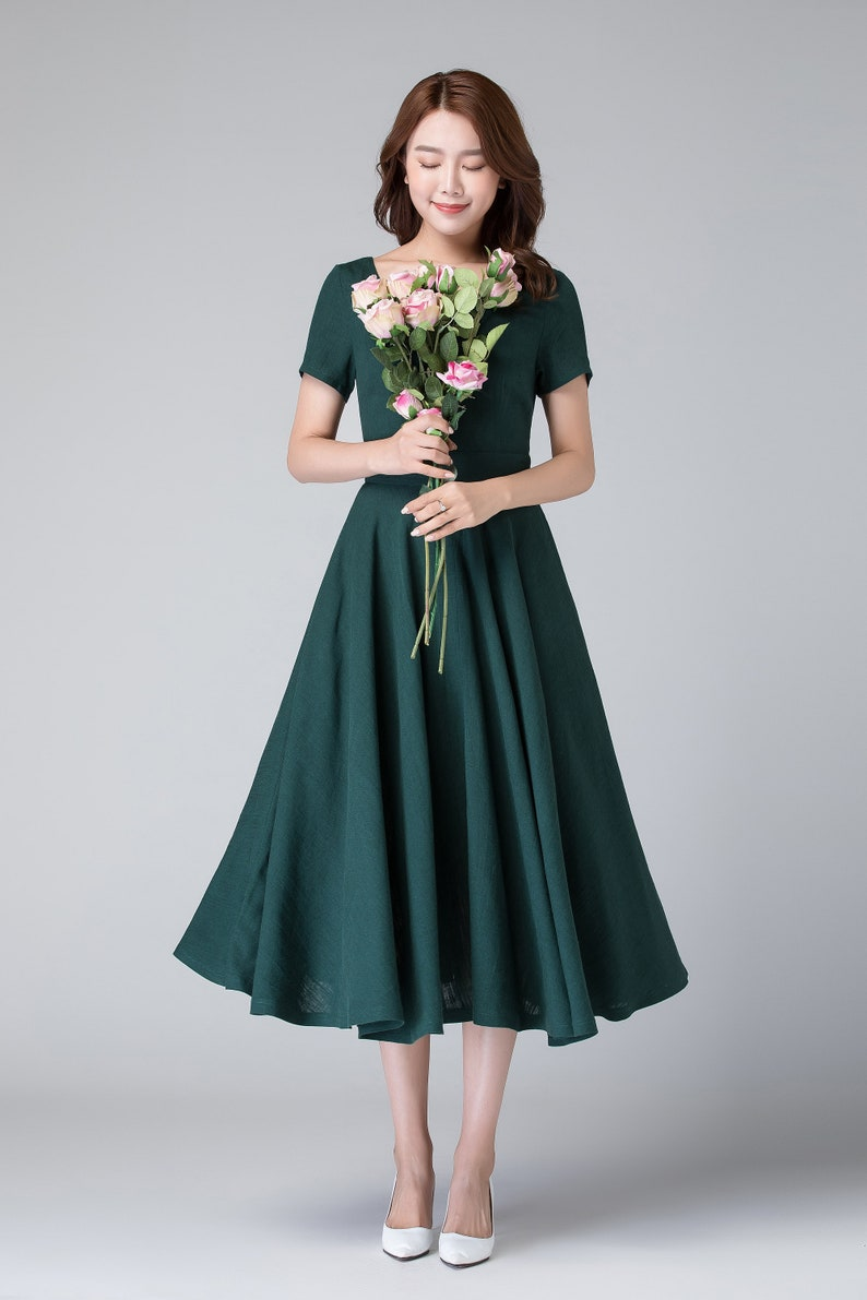 36e90ef27bc Midi robe verte manches courtes robe robe avec poches robe