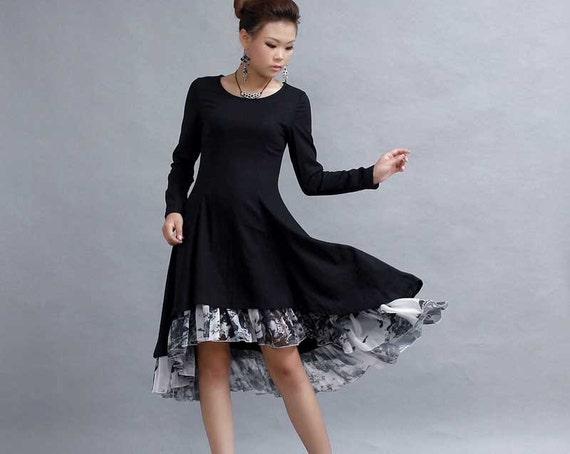 Little Black Dress High Low Dress Midi Dress Womens Etsy