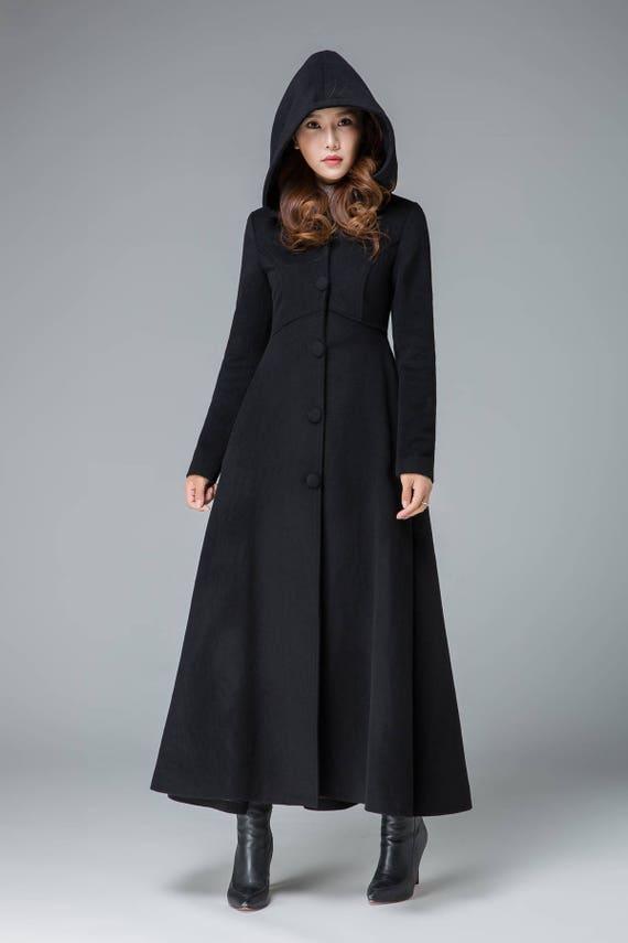 Black Winter Coat Wool Warm