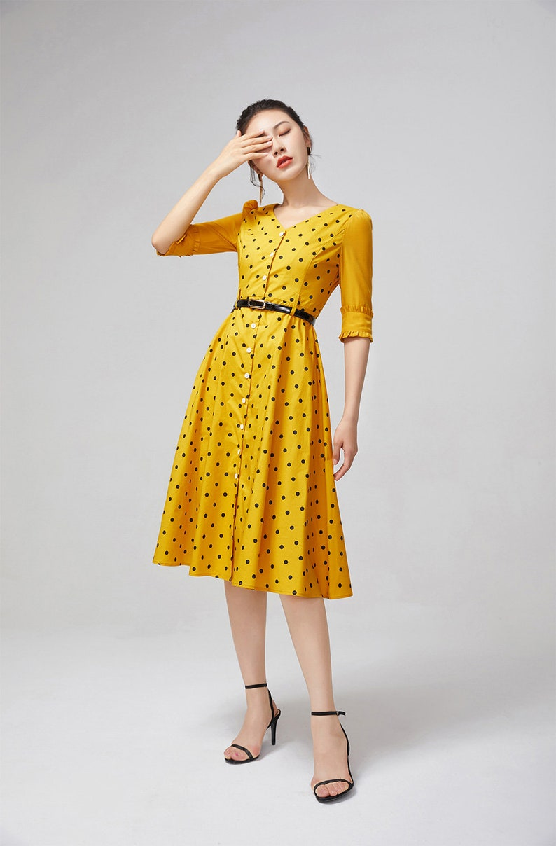 Yellow dress summer dress 2217# ladies dress buttons dress half sleeves dress polka dot dress handmade dress fit and flare dress