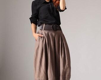 Plus size skirt, brown linen skirt, midi skirt, bubble skirt, womens skirts, pleated skirt, summer skirt, pockets skirt, gift for her (1032)