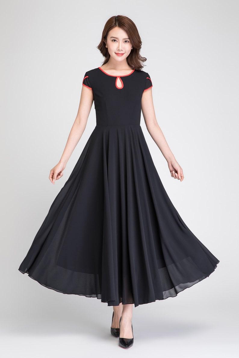 1f2ee91139fbc1 Zwart chiffon jurk vrouwen maxi jurk zomerjurk elegante