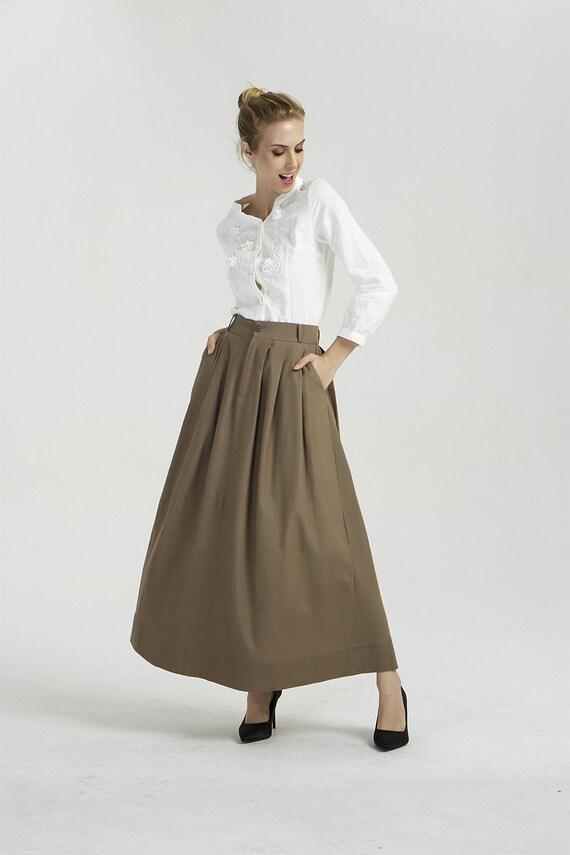 brown maxi skirt linen skirt long linen skirt pleated maxi  ed4b732493b8