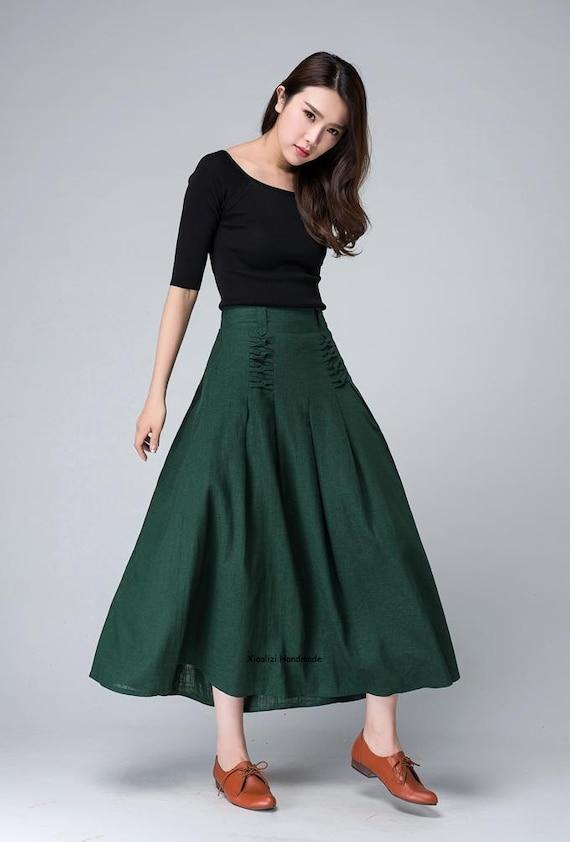 9d700dcacb green maxi skirt summer skirt linen skirt pleated skirt   Etsy