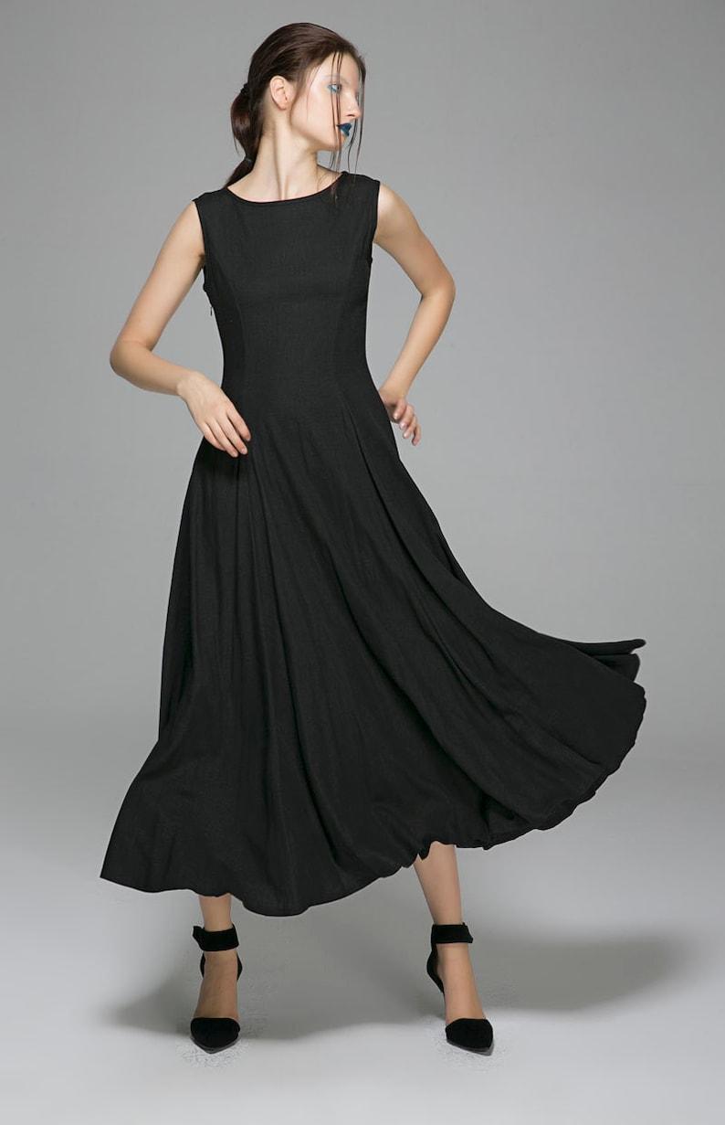 7fb16c6a63e72b Schwarze Sommerkleid Maxi-Kleid Frauen Kleider fit und | Etsy