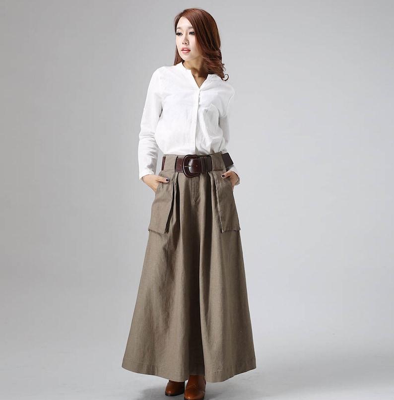 fa8bbe1b42e1 Brown maxi skirt linen skirt long skirt A line skirt fall | Etsy