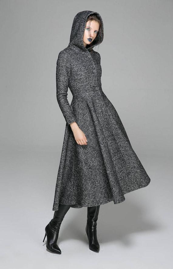 brand new 1b30f ff52f maxi cappotto, cappotto grigio, cappotto da donna, cappotto di lana,  cappotto invernale, cappotto con cappuccio, cappotto lungo, abbigliamento  su ...