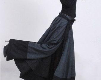 Long Wrap skirt, wool skirt, maxi skirt, patchwork skirt, winter skirt, modern clothing, pleated skirt, unique skirt, gift for mom MM68#