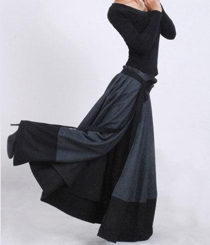 Wrap skirt, patchwork skirt, wool skirt, maxi skirt, winter skirt, modern clothing, pleated skirt, unique skirt, gift for mom MM68