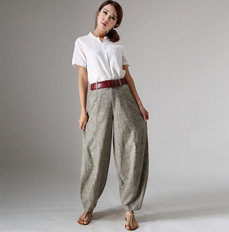 Linen Pants Linen baggy pants women Linen pants Washed 1 Green-986