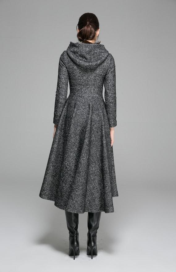 Damen MäntelWollmantelWintermantelKapuzenmantelLangen Maßgeschneiderte Kleidung Maxi MantelGrauer KleidungMod 1374 hrtdsCxQ