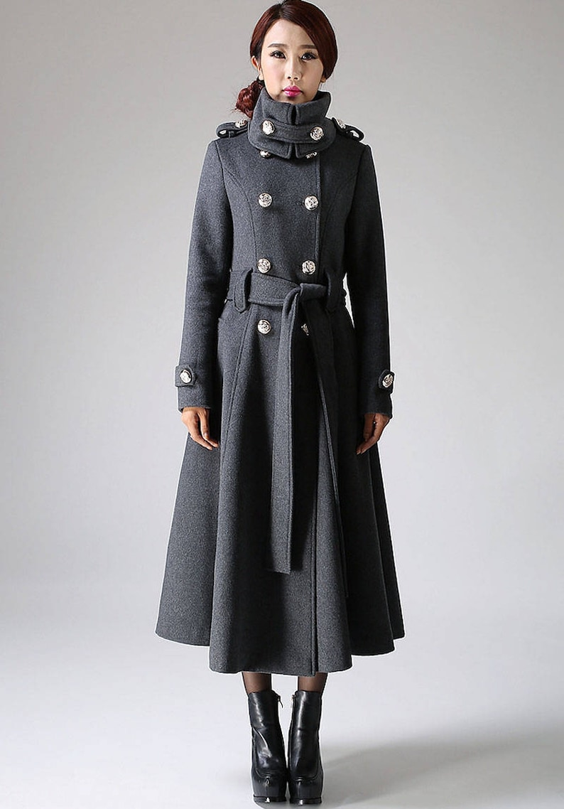 55921edf4 double breasted coat, military coat, wool coat, gray coat, long coat,  womens coats, trench coat, custom made clothing, overcoat 1072#