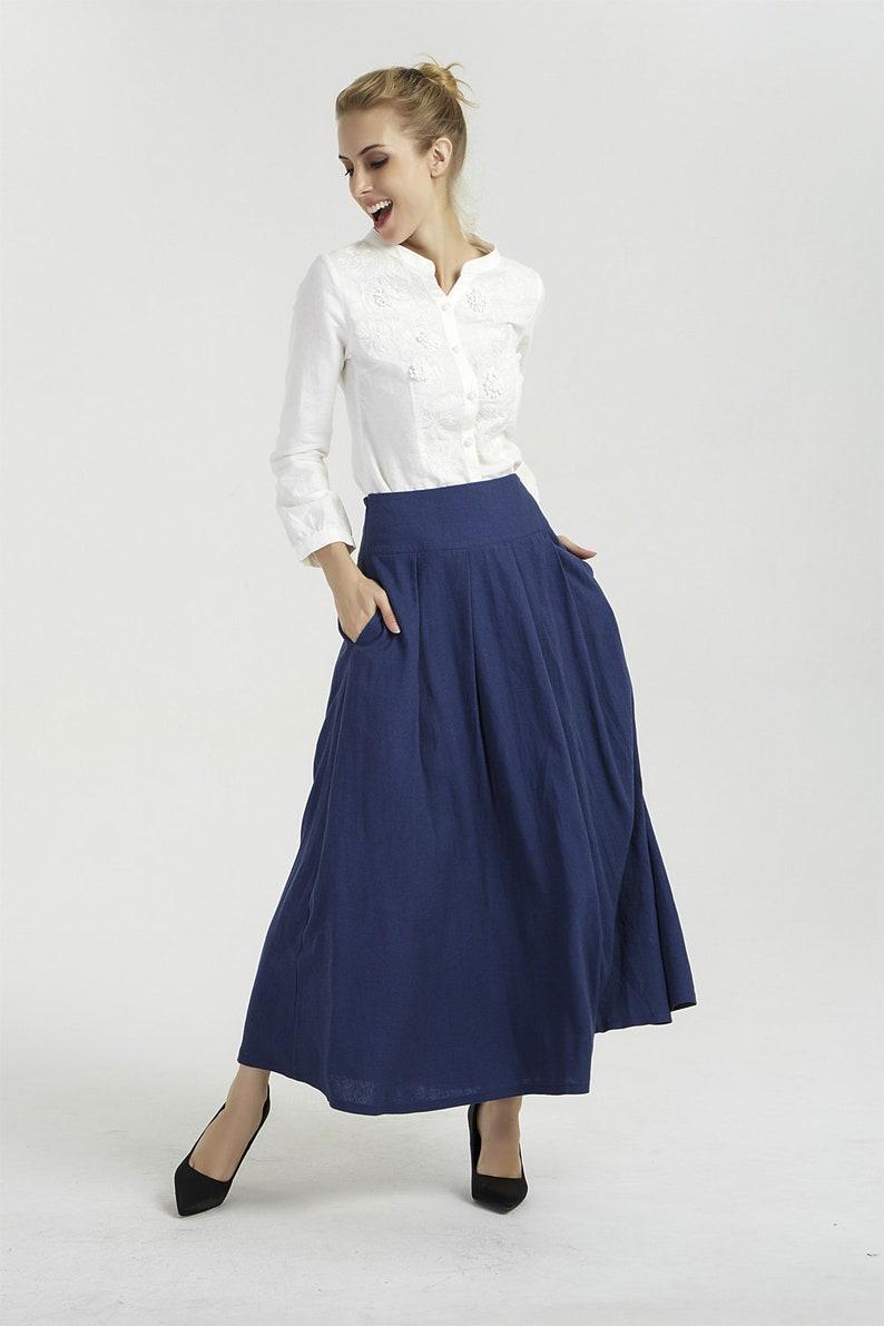 65a18b93f6abd Blue skirt linen skirt pleated skirt long linen skirt