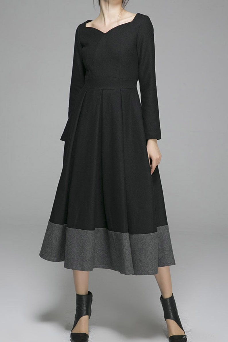 79f737bdf50ed5 Zwarte maxi jurk wollen jurk winter jurk vrouwen jurk