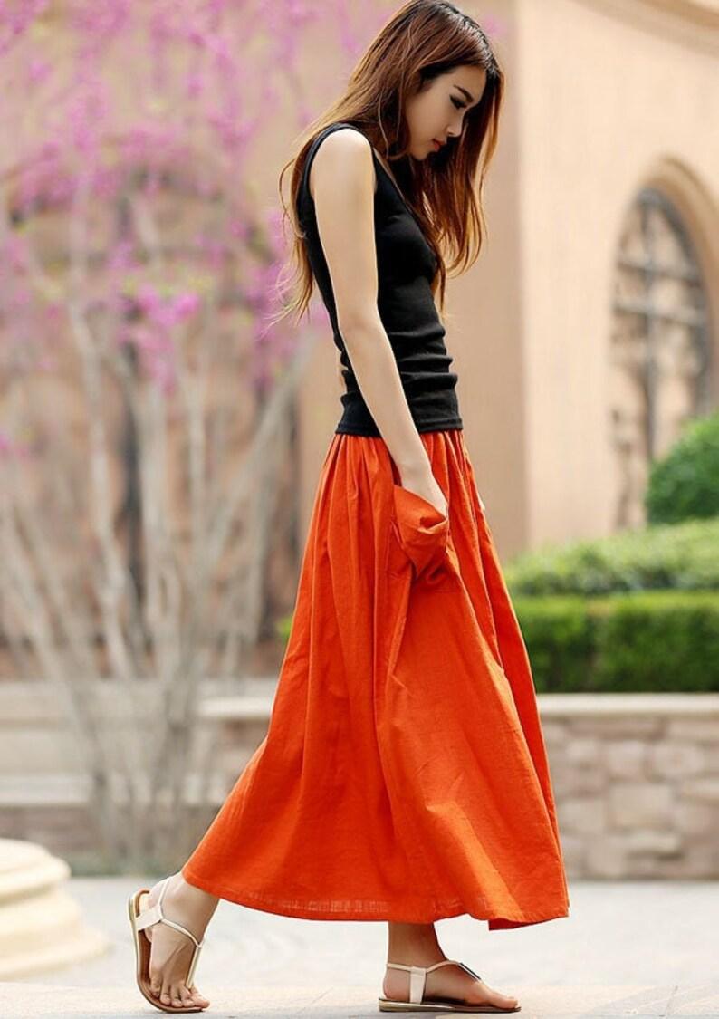 Linen skirt Linen maxi skirt Casual Elastic waist Plus size image 0