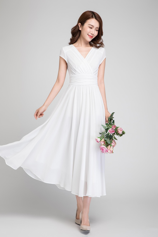 weiße chiffon-Kleid Abendkleid lang Frau Kleid weißes | Etsy