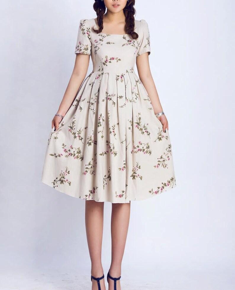 Womens Puff Sleeve Linen Dress Floral dress women Prairie image 0