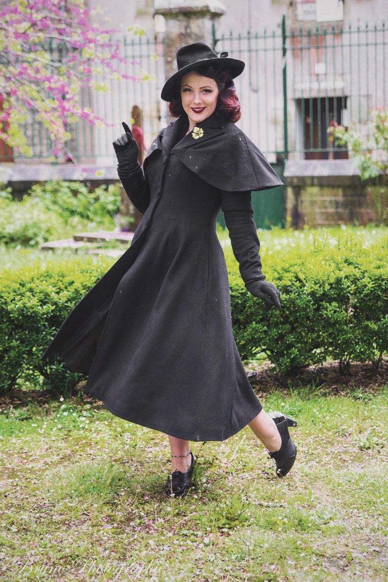 Steampunk Jacket   Steampunk Coat, Overcoat, Cape     Black Wool Coat Mary Poppins Coat Vintage Inspired Coat Long Wool Coat Removable Capelet Coat Women Coat Xiaolizi Stylish Coat 2907 $175.00 AT vintagedancer.com