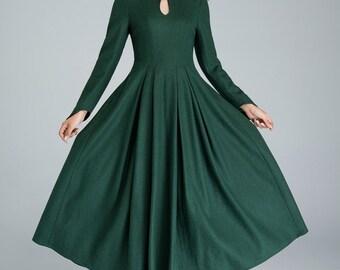 green wool dress, prom dress, midi dress, wool dress, elegant dress, party dress, retro dress, mandarin collar dress, womens dresses   1621