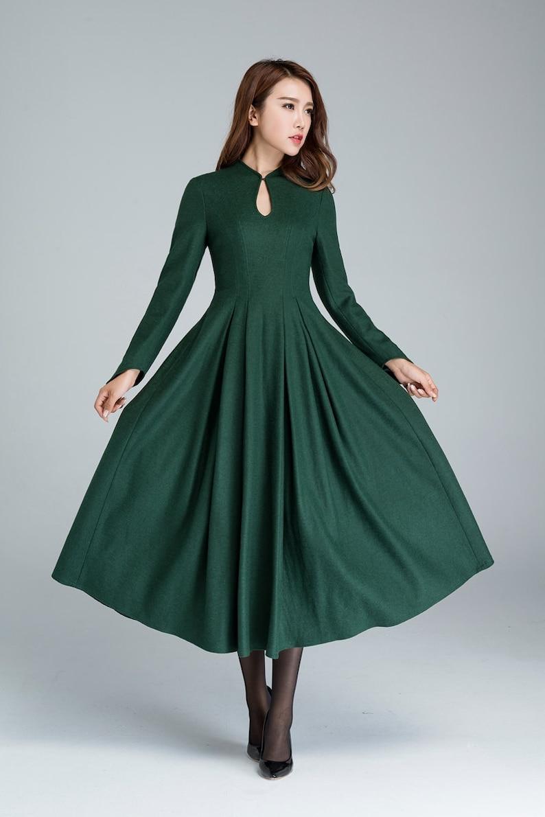 f711bf7e7293a4 Groene wollen jurk prom jurk midi jurk wollen jurk