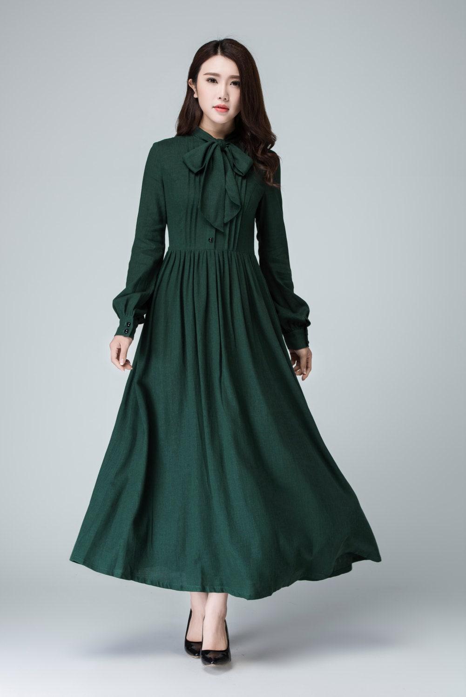 Green Dress Shirt Dress Maxi Dress Linen Dress Long Sleeve Etsy