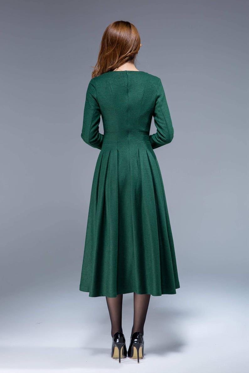 Grünes Kleid Wollkleid Midi-Kleid plissiertes Kleid Fit   Etsy