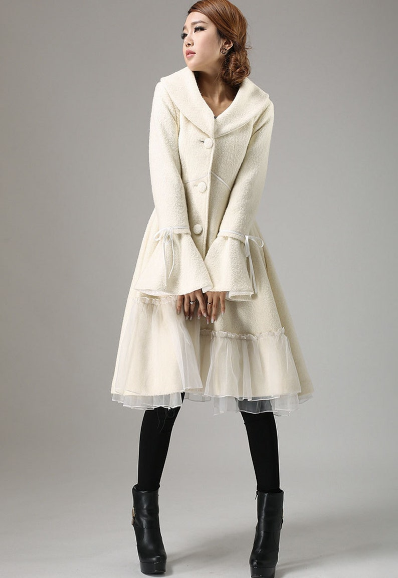 White wool coat wool coat winter coat wool coat for women white-725