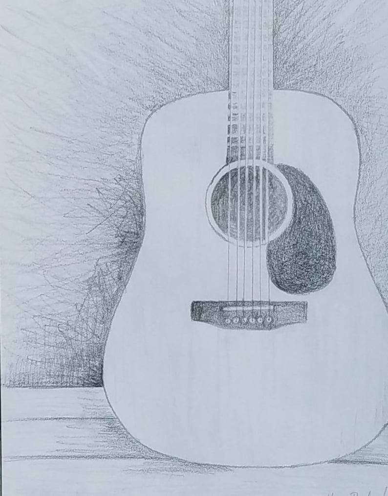 Acoustic guitar pencil drawing guitar lover gift music room decor instrument wall art music themed bedroom rock and roll nursery