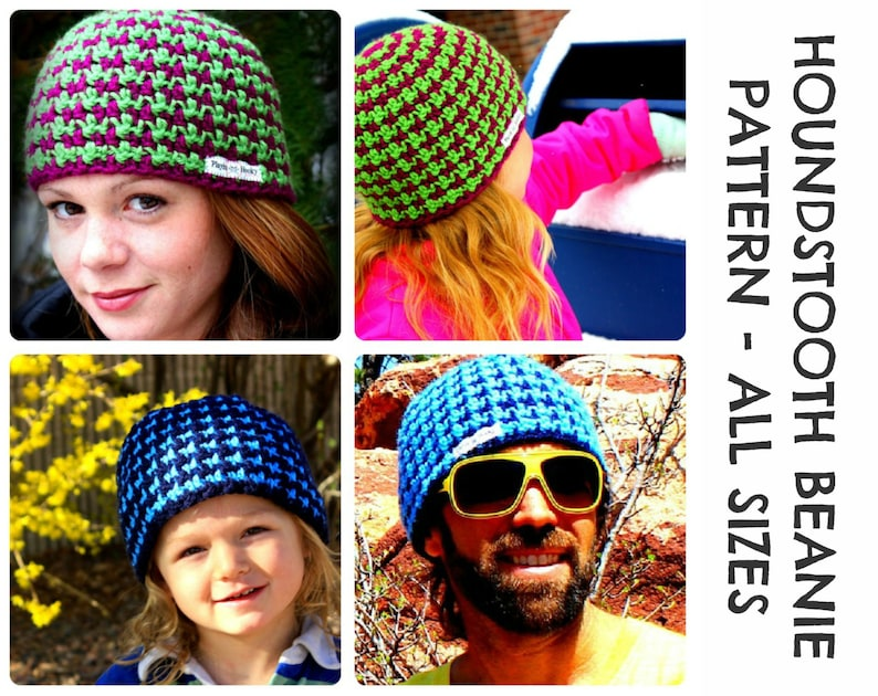 0ab10268998 CROCHET HAT PATTERNS Houndstooth Beanie Adults   Kids