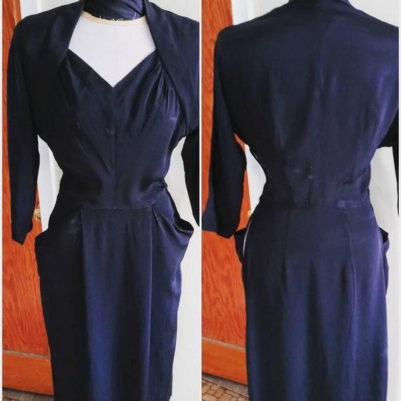 Vintage 40s Black Rayon Dress | High Style Mid-40s