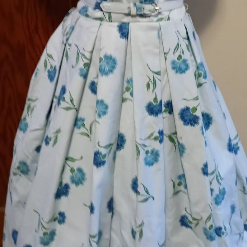 SM 50s Deadstock Blue Floral Dress Absolutely Beautiful 50s Lucinda of California Blue Carnation on Blue Silk Blend Party Dress